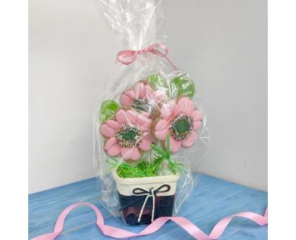 Кашпо с розовыми цветами