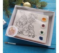 """Раскраска РН03 """"Дети и снеговик"""""""