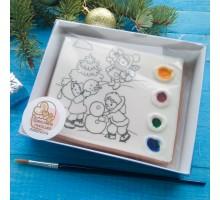 Раскраска РН03 «Дети и снеговик»