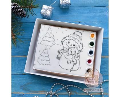 Раскраска РН01 «Снеговик с бычком»