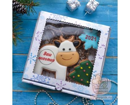 Новогодний набор «Корова с логотипом»