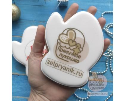Пряник «Варежка большая новогодняя с логотипом»