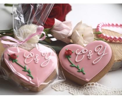 Пряник «Сердечко с розой»